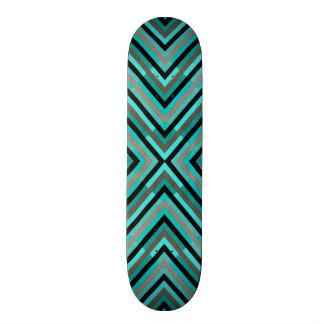 Modern Diagonal Checkered Shades of Green Pattern Skate Decks