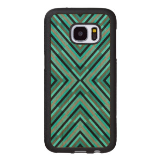Modern Diagonal Checkered Shades of Green Pattern Wood Samsung Galaxy S7 Case