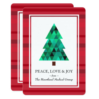 Modern Diamond Geometric Tree Holidays Flat Card