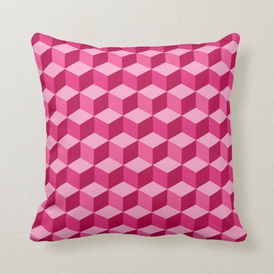 Modern Diamond Grid, Fuchsia and Light Pink Throw Pillow