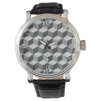 Modern Diamond Grid, Silver and Dark Gray / Grey Watch