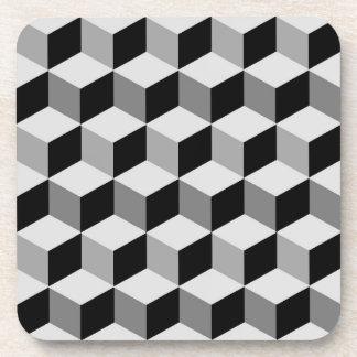 Modern Diamond Grid, Silver, Dark Gray, and Black Coasters