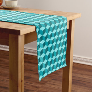 Modern Diamond Grid, Turquoise, Teal and Aqua Short Table Runner