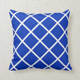 Modern Diamond Print in Blue Throw Pillow