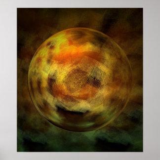 Modern Digital Abstract Sphere Print Poster