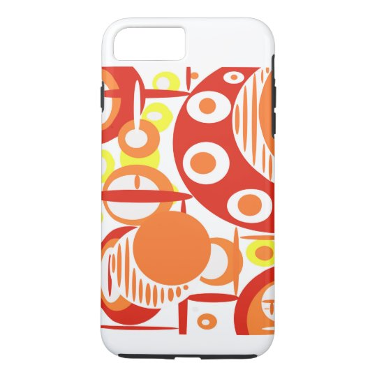 Modern digital art, circles in orange, yellow, red iPhone 8 plus/7 plus case