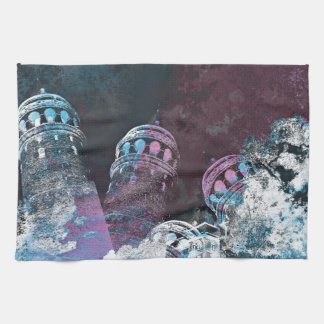 Modern digital graphic art pink towers design hand towels