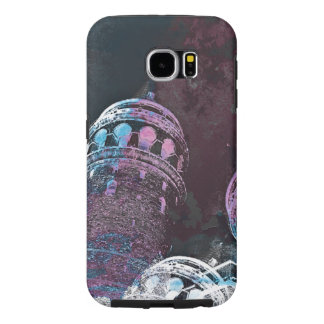 Modern digital graphic art pink towers design samsung galaxy s6 cases