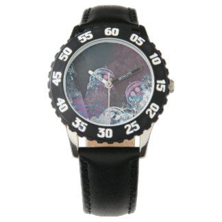 Modern digital graphic art pink towers design watches