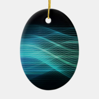 Modern Digital Soundwave Futuristic Abstract Ceramic Oval Ornament