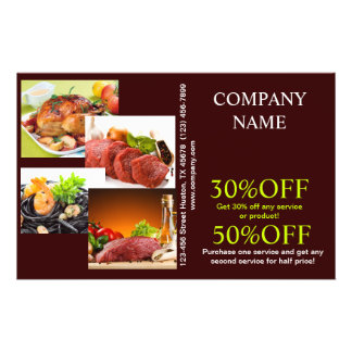 Modern diner catering deli shop food service personalized flyer