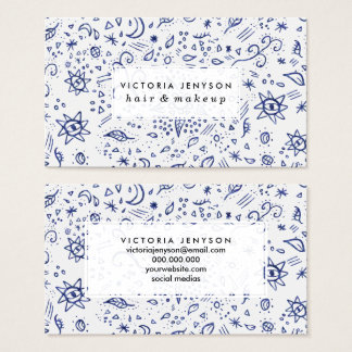 Modern doodles blue esoteric moons stars flowers business card