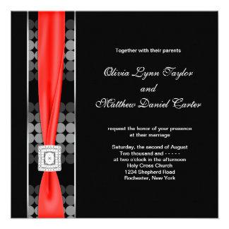 Modern Dot Black White Red Black Wedding Invites