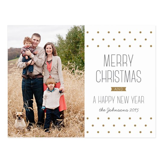 Modern Dots Christmas Photo Postcard