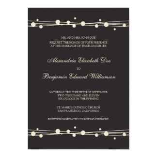 Modern Dots & Straw Wedding Invitation (black)