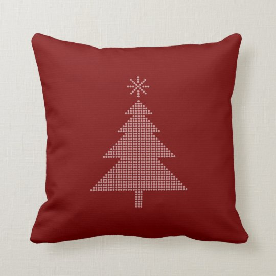 Modern Dotted Christmas Tree | Red Throw Pillow