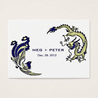 Modern Dragon-Phoenix Chinese Wedding RSVP Business Card