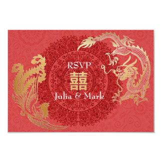 Modern Dragon-Phoenix Chinese Wedding RSVP Red Card