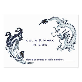 Modern Dragon-Phoenix Chinese Wedding Table Card 2 Business Card Template