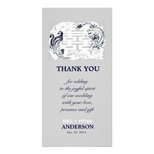 Modern Dragon-Phoenix Chinese Wedding Thank You Picture Card