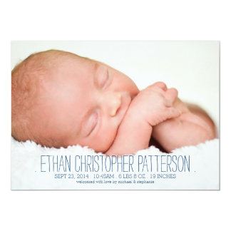 Modern Dream Two Photo Baby Boy Birth Announcement