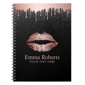Modern Dripping Rose Gold Lips Black Glitter Note Books