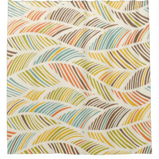 Modern Earth Tone Waves Pattern Shower Curtain