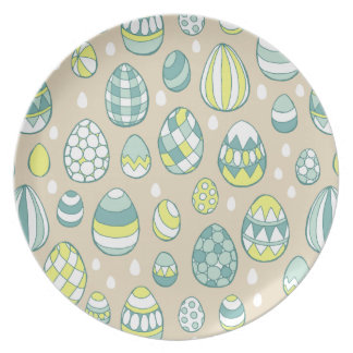 Modern Easter Egg Drawing Pattern Melamine Plate