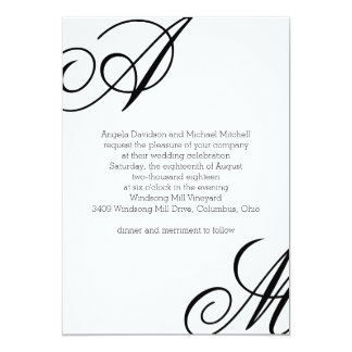Modern Edge Monogram Wedding Card