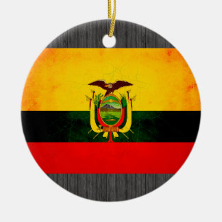 Modern Edgy Ecuadorean Flag Ceramic Ornament