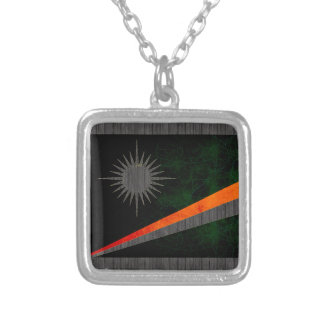 Modern Edgy Marshallese Flag Silver Plated Necklace