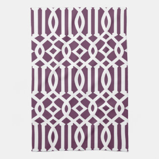 Modern Eggplant Purple and White Trellis Pattern Hand Towels