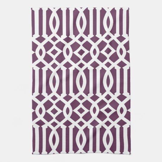 Modern Eggplant Purple and White Trellis Pattern Hand Towels