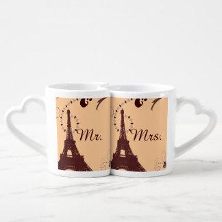 modern eiffel tower vintage paris wedding lovers mug sets