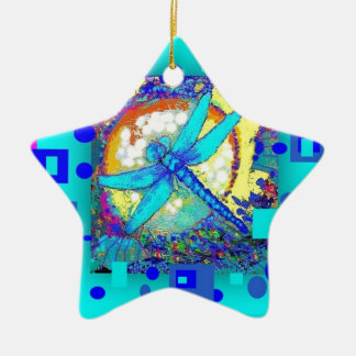 modern Electric Blue Dragonfly Gifts by Sharles Ceramic Star Ornament