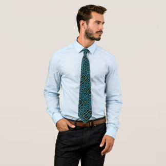 Modern Electric Blue Satin Foulard Artisan Pattern Tie