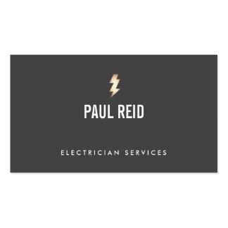 Modern Electrician Gold Lightning Bolt Logo Black Business Card