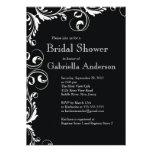 Modern Elegance Black Bridal Shower Invitation