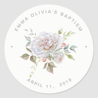 Modern Elegant Baptism | Delicate Floral Classic Round Sticker