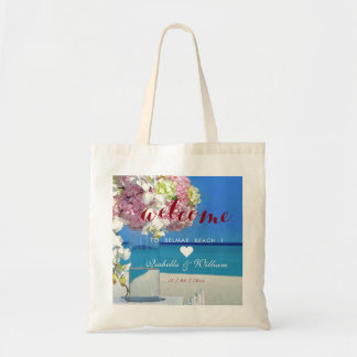 Modern Elegant Beach Wedding Welcome Favour Tote Bag