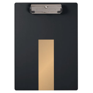 Modern Elegant Black Faux Gold Stripe Monogram Clipboard