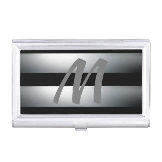 Modern, Elegant, Black & gray, Stylish, Initial Business Card Holder