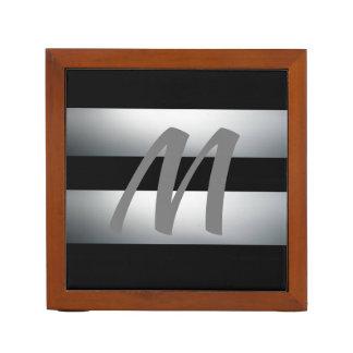 Modern, Elegant, Black & gray, Stylish, Initial Desk Organizer