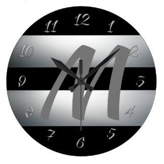 Modern, Elegant, Black & gray, Stylish, Initial Large Clock