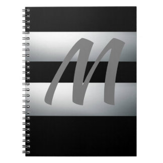 Modern, Elegant, Black & gray, Stylish, Initial Notebook