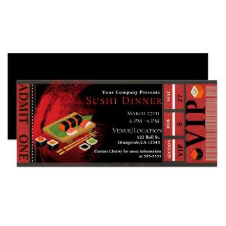 Modern Elegant Black & Red Sushi VIP Dinner Party Card