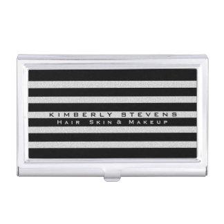 Modern Elegant Black Stripes & White Glitter Business Card Holder
