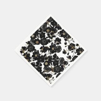 Modern Elegant Black White and Gold Floral Pattern Disposable Napkin