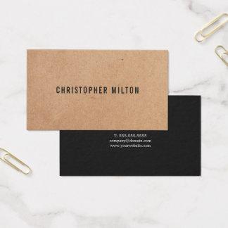 Modern Elegant Black White PRINTED Kraft Paper Business Card