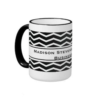 Modern Elegant Black Zig Zag Mugs